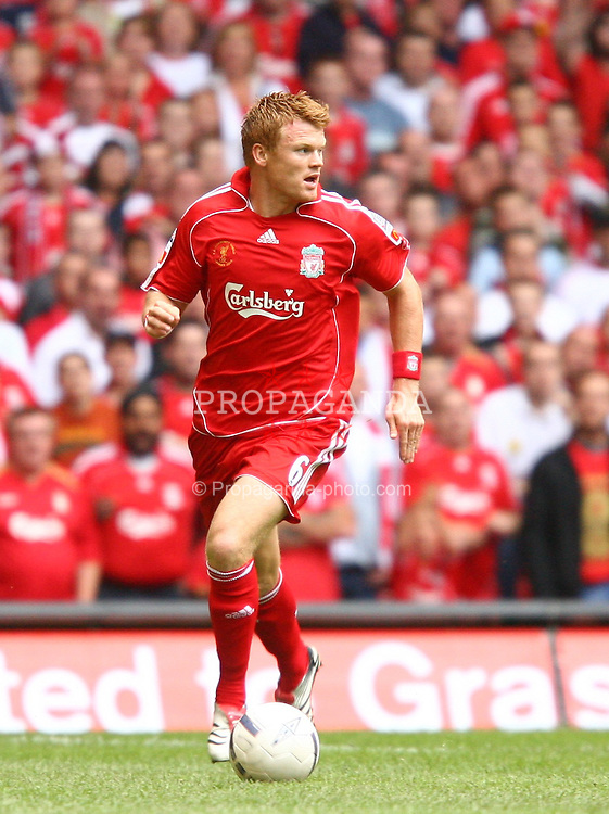 CARDIFF, WALES - SUNDAY, AUGUST 13th, 2006: Liverpool's John Arne Riise in action against Chelsea during the Community Shield match at the Millennium Stadium. (Pic by David Rawcliffe/Propaganda)