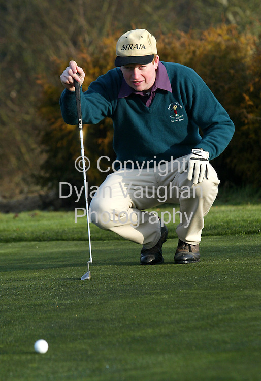 14/2/2004.Edward Holland of the Tullaroan team pictured in action at Rathdowney Golf Club..Picture Dylan Vaughan