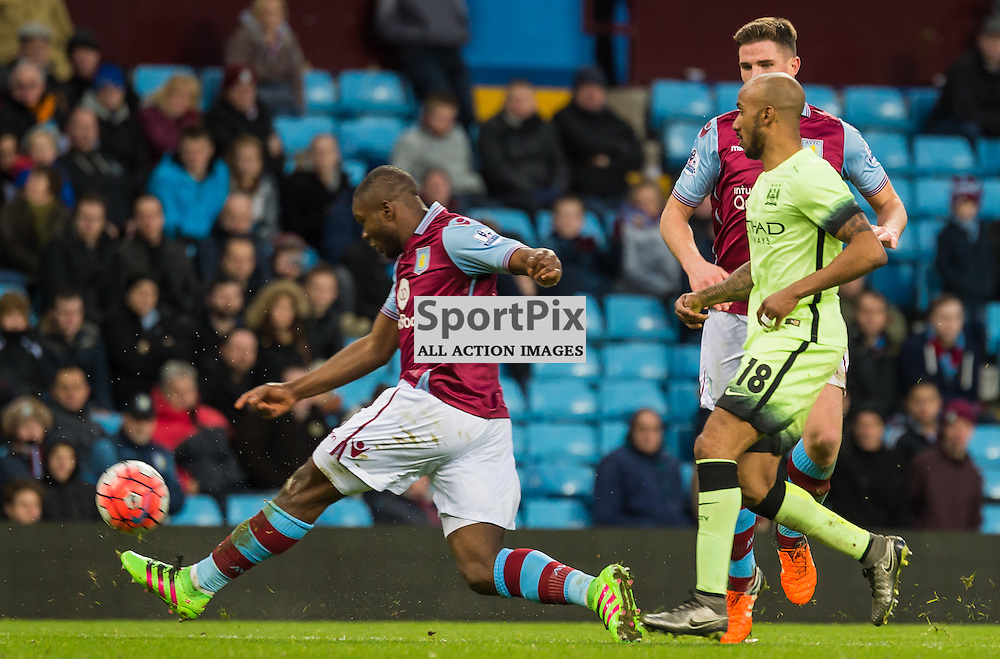 Aston Villa defender Jores Okore (5) clears the ball in the FA cup 4th Round game between Aston Villa and Manchester City<br /> <br /> (c) John Baguley | SportPix.org.uk