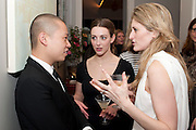 JASON WU; LAURA GALLAGHER; FRANCESCA HAMMERSTEIN;, Party hosted for Jason Wu by Plum Sykes and Christine Al-Bader. Ladbroke Grove. London. 22 March 2011. -DO NOT ARCHIVE-© Copyright Photograph by Dafydd Jones. 248 Clapham Rd. London SW9 0PZ. Tel 0207 820 0771. www.dafjones.com.