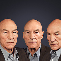 """Sir Patrick Stewart as Captain Jean-Luc Picard is not just a powerful screen presence—his iconic turn as the leader of the starship U.S.S. Enterprise is now considered one of the most instantly recognisable TV roles in pop culture. Sir Patrick Stewart, recently sat for a portrait in New York, captured by Fine Art Portrait Photographer Rory Lewis. <br /> <br /> Lewis was commissioned to capture Sir Patrick in the style of the Triple Portrait fo Charles I also known as Charles 1st in Three Positions. An oil painting by Flemish artist Sir Anthony van Dyck, showing the king from three viewpoints: left full profile, face on, and right three-quarter profile. Painted in 1635 or 1636, it is currently part of the Royal Collection. The painting was sent to Rome in 1636 to be used as a reference work for the Italian sculptor Gian Lorenzo Bernini to create a marble bust of Charles I.<br /> <br /> The portrait presented quite a challenge, capturing three distinct expressions and merging the portraits together in three imposing positions. Rory directed Sir Patrick to assume a variation of theatrical and serious expressions, keeping each simple and uncomplicated. This made it easier to merge the triple portrait with eye catching depictions, presenting Sir Patrick in a coherent state of mind. <br /> <br /> """"What emerged from the session was a complex and vigorous character, embodied by energy and animation; a side of Sir Patrick that I thoroughly enjoyed watching unfold in front of my lens."""" (Rory Lewis Photographer)"""