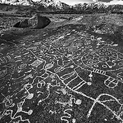 Sky Rock Petroglyph And The Sierras -  Eastern Sierras, CA - Infrared Black & White