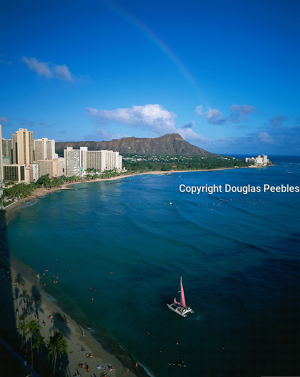 Rainbow, Diamond Head, Waikiki, Oahu, Hawaii, USA<br />
