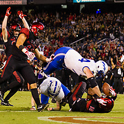 12 October 2018: San Diego State Aztecs safety Trenton Thompson (18) scores after picking up the blocked punt in the second quarter. The San Diego State Aztecs lead 14-9 at the half against the Air Force Falcons at SDCCU Stadium Friday night.