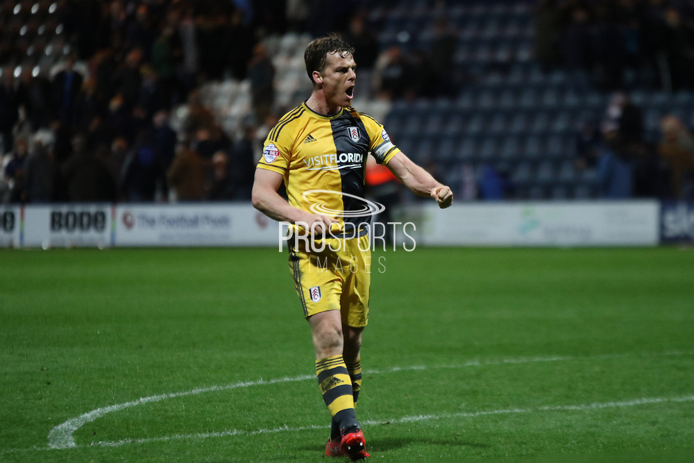 Scott Parker celebrates Fulham winning 2-1 during the Sky Bet Championship match between Preston North End and Fulham at Deepdale, Preston, England on 5 April 2016. Photo by Pete Burns.
