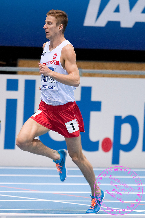 Marcin Lewandowski of Poland competes in men's 800 meters qualification during the IAAF Athletics World Indoor Championships 2014 at Ergo Arena Hall in Sopot, Poland.<br /> <br /> Poland, Sopot, March 7, 2014.<br /> <br /> Picture also available in RAW (NEF) or TIFF format on special request.<br /> <br /> For editorial use only. Any commercial or promotional use requires permission.<br /> <br /> Mandatory credit:<br /> Photo by &copy; Adam Nurkiewicz / Mediasport