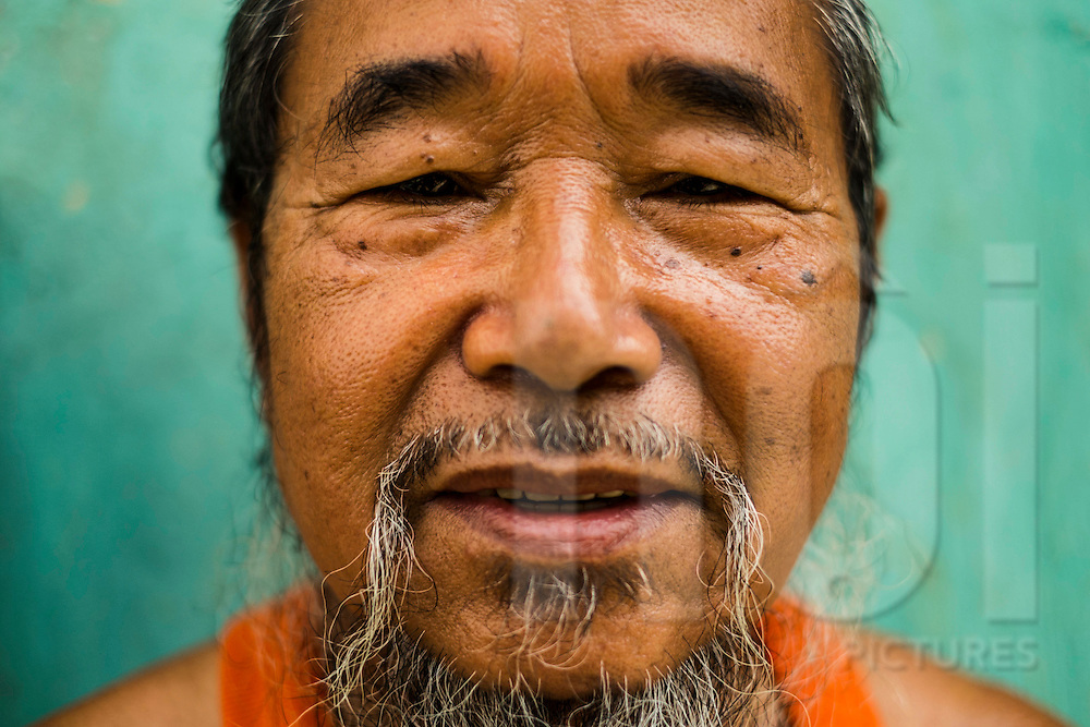 Portrait of Y Kong, a figure of Co Tu ethnic group, Central Vietnam, Southeast Asia