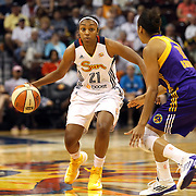 Renee Montgomery, Connecticut Sun in action during the Connecticut Sun Vs Los Angeles Sparks WNBA regular season game at Mohegan Sun Arena, Uncasville, Connecticut, USA. 3rd July 2014. Photo Tim Clayton