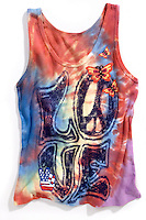 red white and blue hippie tie dye tank top with love printed on the front
