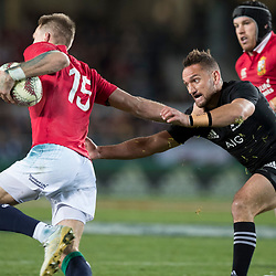 Aaron Cruden  tackles Liam Williams during game 7 of the British and Irish Lions 2017 Tour of New Zealand, the first Test match between  The All Blacks and British and Irish Lions, Eden Park, Auckland, Saturday 24th June 2017<br /> (Photo by Kevin Booth Steve Haag Sports)<br /> <br /> Images for social media must have consent from Steve Haag