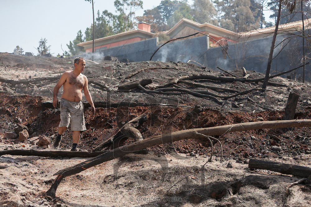 Portugal, FUNCHAL : A villager stands on a charred area after a wildfire in Palheiro Ferreiro, next to Funchal, on Madeira Island, on July 21, 2012. The problems started on July 18 evening when high temperatures and strong winds fanned a fire that broke out on the edge of the capital Funchal. PHOTO / GREGORIO CUNHA