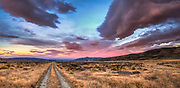 Road to Nowhere, dawn panorama of farm track, St Bathans, Central Otago, New Zealand