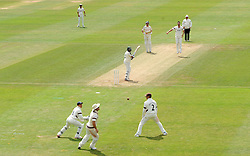 Nottinghamshire's Samit Patel edges through the slips. - Photo mandatory by-line: Harry Trump/JMP - Mobile: 07966 386802 - 16/06/15 - SPORT - CRICKET - LVCC County Championship - Division One - Day Three - Somerset v Nottinghamshire - The County Ground, Taunton, England.
