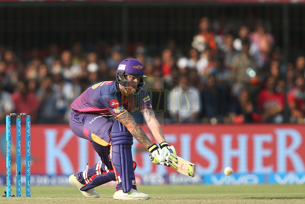 Ben Stokes of Rising Pune Supergiant reverse sweeps a delivery towards the boundary during match 4 of the Vivo 2017 Indian Premier League between the Kings XI Punjab and the Rising Pune Supergiant held at the Holkar Cricket Stadium in Indore, India on the 8th April 2017<br /> <br /> Photo by Shaun Roy - IPL - Sportzpics