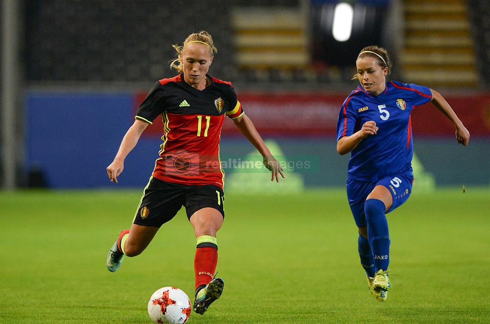 September 19, 2017 - Heverlee, BELGIUM - Belgium's Janice Cayman and Moldavia's midfielder Eugenia Miron pictured in action during a soccer game between Belgium's Red Flames and the Republic of Moldova, a qualification match for the women's World Cup 2019 Tuesday 19 September 2017, in Heverlee, Leuven. BELGA PHOTO DAVID CATRY (Credit Image: © David Catry/Belga via ZUMA Press)