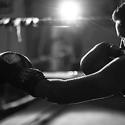 Jordon Montoya warms up on the bag at La Habra Boxing Club.<br /> Sports Shooter Academy XI:  La Habra Boxing Club on November 06, 2014 at La Habra in La Habra CA, USA.  Photo credit: Jason Tanaka