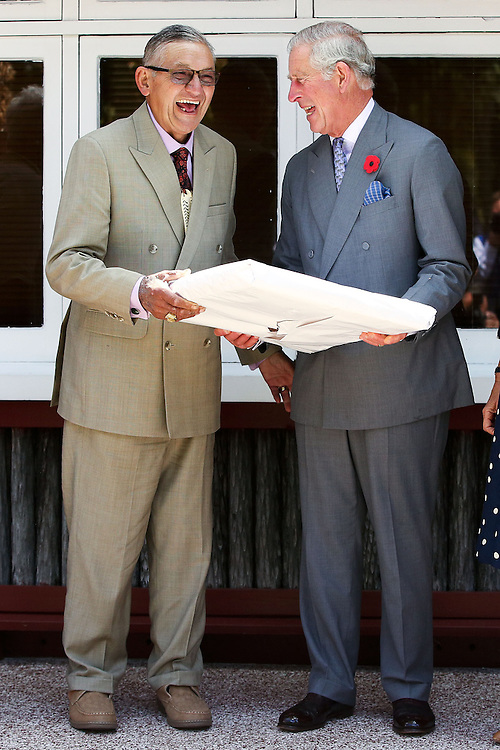 Prince Charles, Prince of Wales and Kiingi Tuheitia enjoy a laugh while exchanging gifts during a visit to Turangawaewae Marae, Hamilton,New Zealand, Sunday, November 08, 2015. Credit:SNPA / Getty, Hagen Hopkins **POOL**