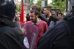 Italy, Modena  - May 3, 2019.Italians First..Matteo Salvini, leader of Lega Nord party and Minister of Internal Affairs campaigning for the local Mayor candidate of the Northern League (Lega Nord) party STEFANO PRAMPOLINI..An anti Salvini demonstrator injured by the police (Credit Image: © Brancolini/Fotogramma/Ropi via ZUMA Press)