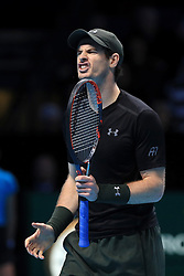 Andy Murray looks dejected in his match against Milos Raonic during day seven of the Barclays ATP World Tour Finals at The O2, London.