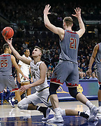 SOUTH BEND, IN - JANUARY 12: Nate Laszewski #14 of the Notre Dame Fighting Irish shoots the ball against Nik Popovic #21 of the Boston College Eagles at Purcell Pavilion on January 12, 2019 in South Bend, Indiana. (Photo by Michael Hickey/Getty Images) *** Local Caption *** Nate Laszewski; Nik Popovic