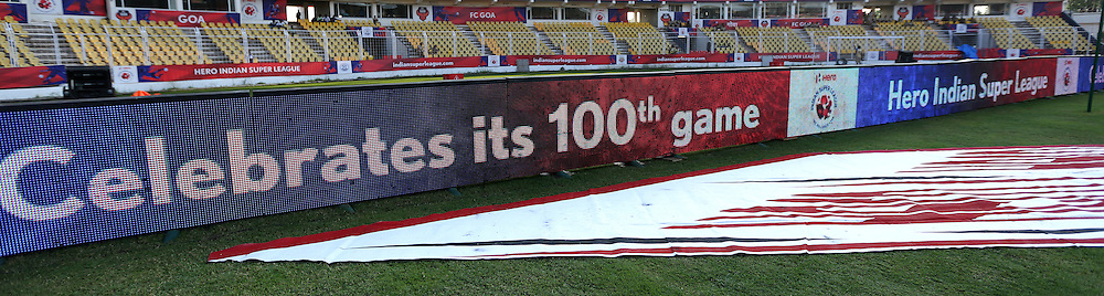 LED screen before the start of the match 39 of the Indian Super League (ISL) season 2  between FC Goa and Mumbai City FC held at the Jawaharlal Nehru Stadium, Fatorda, Goa, India on the 17th November 2015.<br /> <br /> Photo by Sandeep Shetty / ISL/ SPORTZPICS