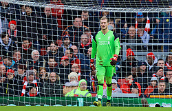 LIVERPOOL, ENGLAND - Saturday, January 28, 2017: Liverpool's goalkeeper Loris Karius looks dejected as Wolverhampton Wanderers take a two-goal lead during the FA Cup 4th Round match at Anfield. (Pic by David Rawcliffe/Propaganda)