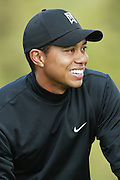 Professional golfer Tiger Woods smiles as he eyes his line on an upcoming putt in a round two match at the Accenture Match Play Championship World Golf Championships held at the La Costa Resort and Spa on February 27, 2004 in Carlsbad, California. ©Paul Anthony Spinelli
