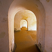 Arches inside fort. Puerto Rico, USA.