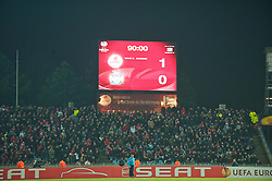 LILLE, FRANCE - Thursday, March 11, 2010: Liverpool 1-0 defeat to LOSC Lille Metropole is recorded on the scoreboard during the UEFA Europa League Round of 16 1st Leg match at the Stadium Lille-Metropole. (Photo by David Rawcliffe/Propaganda)