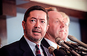 Oklahoma Attorney General Drew Edmondson with other state attorneys general discusses a $206 billion settlement with tobacco companies November 16, 1998 in Washington, DC.