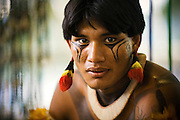 A warrior from the Xingu Park during the Indigenous National Party 2007.