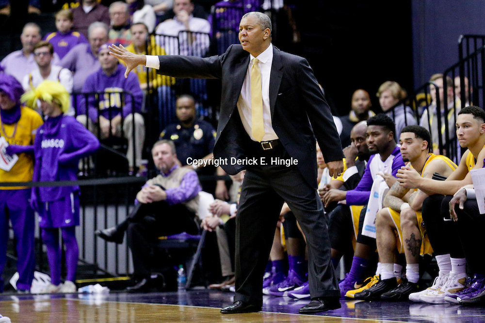 Jan 5, 2016; Baton Rouge, LA, USA; LSU Tigers head coach Johnny Jones during the first half of a game against the Kentucky Wildcats at the Pete Maravich Assembly Center. Mandatory Credit: Derick E. Hingle-USA TODAY Sports
