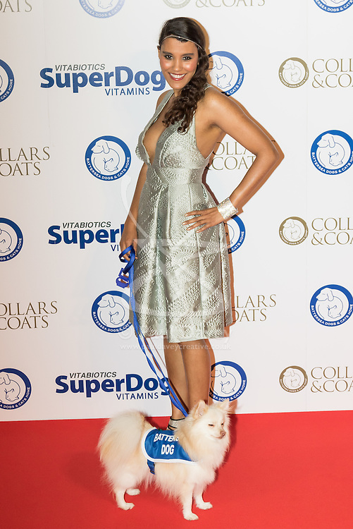 """Battersea, London, November 3rd 2016.  Celebrities and their dogs attend The Evolution at Battersea Park to attend The Battersea Dogs and Cats Home """"Collars and Coats Ball"""". PICTURED: Layla Romic"""