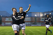 27th January 2018, SuperSeal Stadium, Hamilton, Scotland; Scottish Premiership football, Hamilton Academical versus Dundee; Dundee's Matty Hanvey is congratulated after scoring by Scott Allan