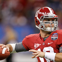 Jan 9, 2012; New Orleans, LA, USA; Alabama Crimson Tide quarterback AJ McCarron (10) against the LSU Tigers before the 2012 BCS National Championship game at the Mercedes-Benz Superdome.  Mandatory Credit: Derick E. Hingle-US PRESSWIRE