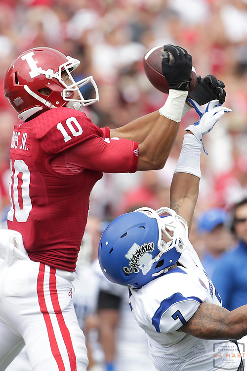Indiana Hoosiers wide receiver Ricky Jones (10) as the Indiana Hoosiers played the Indiana State Sycamores in a college football game in Bloomington, IN.