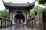 elaborated entrance gate,  Chengdu, Kuan Zhai Xiang Zi historic city. Sichuan, China