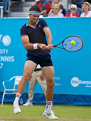 LIVERPOOL, ENGLAND - Friday, June 16, 2017: Robert Kendrick (USA) during Day Two of the Liverpool Hope University International Tennis Tournament 2017 at the Liverpool Cricket Club. (Pic by David Rawcliffe/Propaganda)