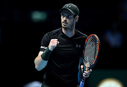 Andy Murray celebrates victory over Marin Cilic during day two of the Barclays ATP World Tour Finals at The O2, London.