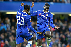 Goal, Michy Batshuayi of Chelsea scores from the penalty spot, dances with Kurt Zouma of Chelsea - Mandatory by-line: Jason Brown/JMP - 28/01/2017 - FOOTBALL - Stamford Bridge - London, England - Chelsea v Brentford - Emirates FA Cup fourth round