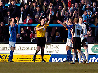 Photo: Leigh Quinnell.<br /> Chesterfield v Southend United. Coca Cola League 1. 18/02/2006. Chestefields Janos Kovacs is sent of by referee D.Deadman after handling the ball on the line.