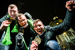 Blaz Blagotinsek, Vid Poteko and Urban Lesjak during reception of Slovenian National Handball Men team after they placed third at IHF World Handball Championship France 2017, on January 30, 2017 in Mestni trg, Ljubljana centre, Slovenia. Photo by Vid Ponikvar / Sportida