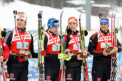 11.12.2011, Biathlonzentrum, Hochfilzen, AUT, E.ON IBU Weltcup, 2. Biathlon, Hochfilzen, Staffel Herren, im Bild Peiffer Arnd (Team Germany) Birnbacher Andreas (Team Germany) Schempp Simon (Team Germany) Greis Michael (Team Germany) // during Team Relay  E.ON IBU World Cup 2th Biathlon, Hochfilzen, Austria on 2011/12/11. EXPA Pictures © 2011. EXPA Pictures © 2011, PhotoCredit: EXPA/ nph/ Straubmeier..***** ATTENTION - OUT OF GER, CRO *****