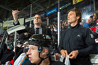 KELOWNA, BC - SEPTEMBER 28:  Kelowna Rockets assistant coach Kris Mallette signals a return to the bench against the Everett Silvertips  at Prospera Place on September 28, 2019 in Kelowna, Canada. (Photo by Marissa Baecker/Shoot the Breeze)