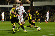 Burton Albion midfielder Robbie Weir clears the ball during the Sky Bet League 1 match between Burton Albion and Crewe Alexandra at the Pirelli Stadium, Burton upon Trent, England on 20 October 2015. Photo by Aaron Lupton.