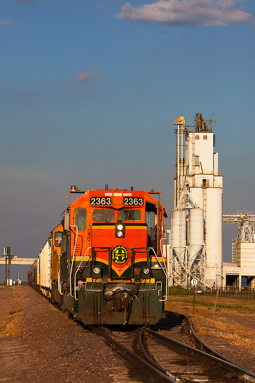 A BNSF Railway local freight train works a branch line in Amarillo, Texas.