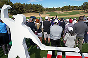 Nov 23, 2018; Las Vegas, NV, USA; Fans watch Tiger Woods warm up before The Match: Tiger vs Phil golf match at Shadow Creek Golf Course.