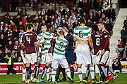 Celtic FC Forward Leigh Griffiths gets a shove during th tussle  during the Scottish League Cup presented by Ulilita Energy quarter final match between Heart of Midlothian and Celtic at Tynecastle Stadium, Gorgie, Scotland on 28 October 2015. Photo by Craig McAllister.