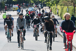 © Licensed to London News Pictures. 02/05/2020. London, UK. Large numbers of cyclists exercise in Regents Park, London, during a pandemic outbreak of the COVID-19 strain of Coronavirus. According to government, the UK provided more than 122,000 coronavirus tests on the last day of April. Photo credit: Ben Cawthra/LNP
