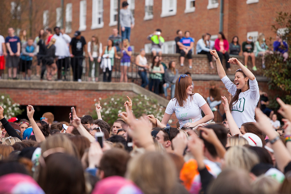 Thousands of Ohio University students turned out to watch Aaron Carter's performance on South Beach April 24, 2014. The celebration was organized by the University Program Council.  Photo by Jonathan Adams / Ohio University